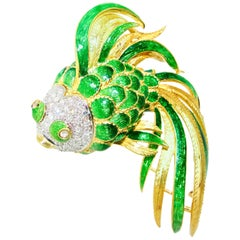 Fish Brooch, Large and Colorful with Diamonds, circa 1960