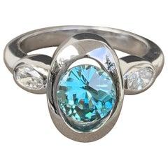 2 Carat Approximate Round Blue Topaz and Diamond Ring, Ben Dannie Design