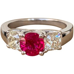 1.80 Carat Approx. Round Burma Ruby and Cushion 3-Stone Ring, Ben Dannie Design