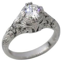 1.5 Carat Approx. TW Round Diamond Art Deco Style Hand Engraved Ring, Ben Dannie