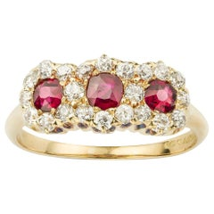 Tiffany & Co. Ruby and Diamond Triple Cluster Ring