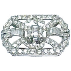 4.10 Carat Diamond Art Deco Style Platinum Brooch Pendant