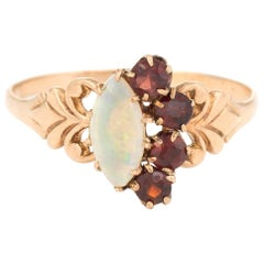 Antique Victorian Ring Garnet Opal 10 Karat Rose Gold Half Moon Vintage Jewelry