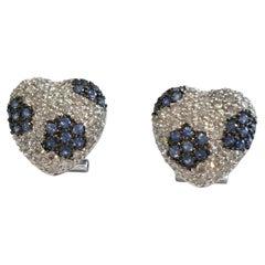 18 Karat White Gold Diamond and Sapphire Earrings 2.80 Carat I Color VS Clarity