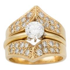 14 Karat Gold Diamond Ring GIA Certified 0.58 Carat F Color VS1 Clarity Round