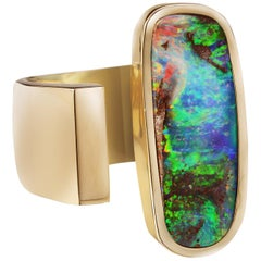 Yellow Gold Top Quality Australian Boulder Opal Cocktail Ring