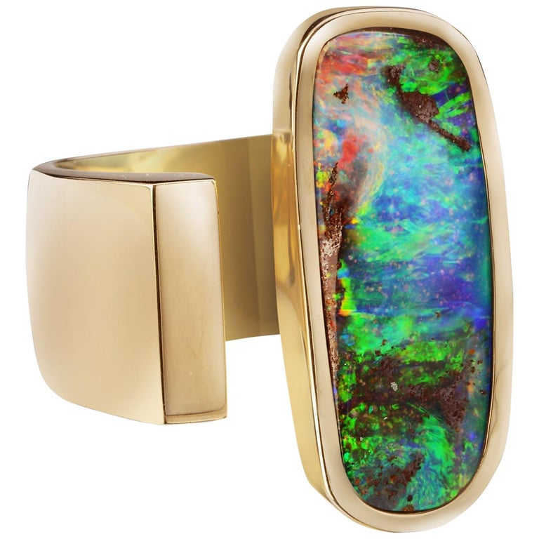 Yellow Gold Top Quality Australian Boulder Opal Cocktail Ring For Sale