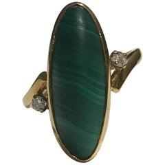 Malachite and Diamond 18 Karat Dress Ring