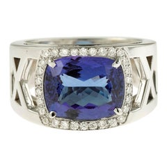 4.65 Carat Cushion Tanzanite and Diamonds 18 Karat White Gold Band Ring