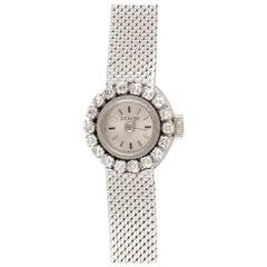 Zenith, a Ladies 18 Carat White Gold and Diamond Set Manual Wind Bracelet Watch