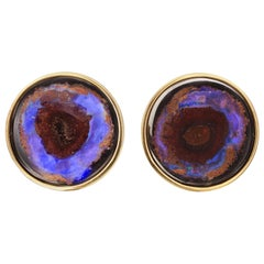 Yellow Gold Australian Boulder Opal Stud Earrings