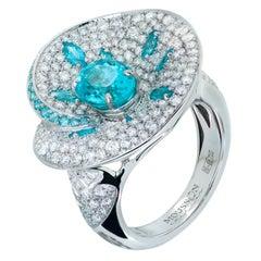 Paraiba Tourmaline 2.00 Carat Diamonds 2.40 Carat 18 Karat White Gold Ring