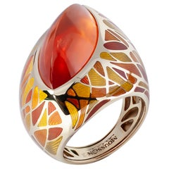 Spessartine Garnet 16.71 Carat Enamel 18 Karat Yellow Gold Ring