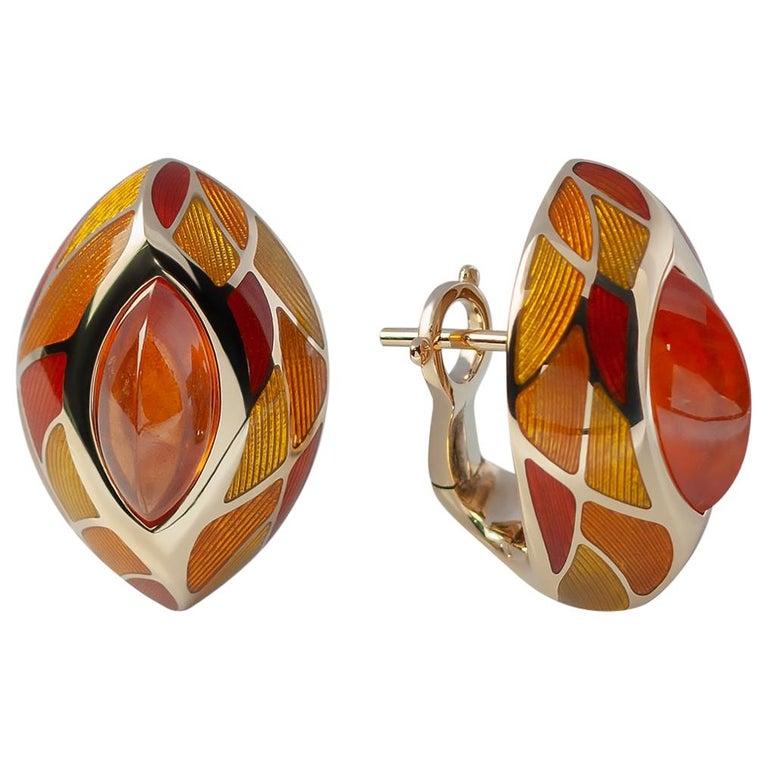 Spessartine Garnet 6.40 Carat Enamel 18 Karat Yellow Gold Earrings For Sale