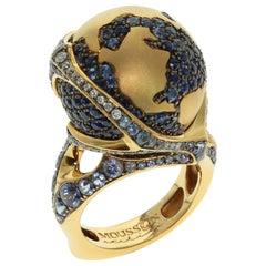 Globus Ring Diamanten Saphir 18 Karat Gelbgold