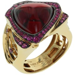 Garnet Trillion Cabochon Pink Sapphire 18 Karat Yellow Gold Ring