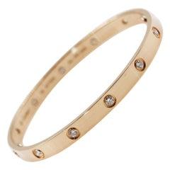 Cartier 18 Karat Rose Gold Love Bracelet With 10 Diamond