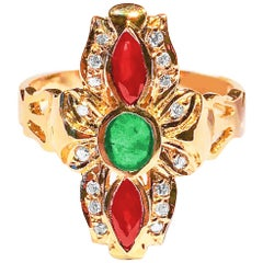 Georgios Collections 18 Karat Yellow Gold Byzantine Style Multicolor Gem Ring