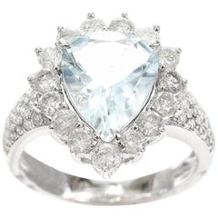 Aquamarine Pear 2.22 Carat Diamond 18 Carat White Gold Dress Ring