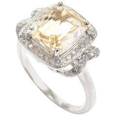Art Deco Style Citrine and Diamond 18 Carat Gold Dress Ring