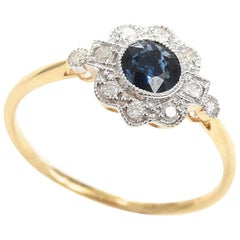 Sapphire Diamond 18 ct Gold Daisy Ring