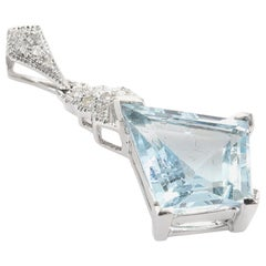 Aquamarine 2.39 Carats Diamond 18 White Gold Pendant
