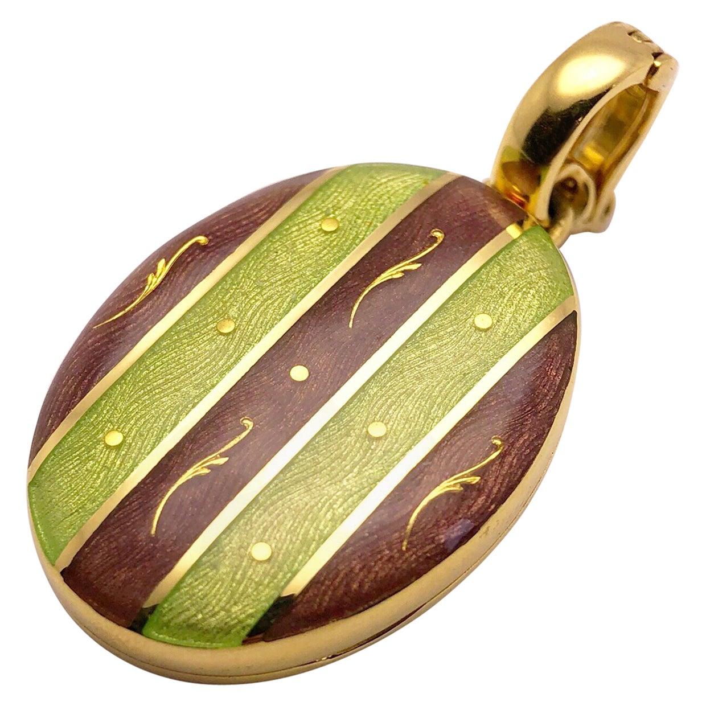Modern Faberge 18 Karat Gold, Guilloché Enamel Oval Locket with Certificate