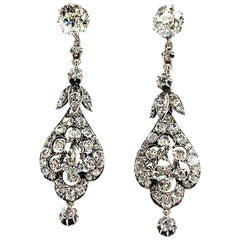 Antique Pair of Diamond Earrings, Formerly from a Princely Family