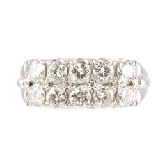 1.0 Carat Diamond Two Row Ring in 14 Karat White Gold