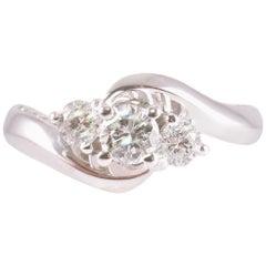 1.25 Carat Diamond Three-Stone Ring in 14 Karat White Gold