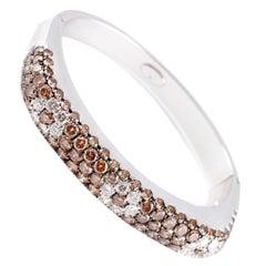 Leo Pizzo Brown White 9.90 Carat Diamond Bracelet