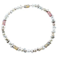 "Margot McKinney ""Tribal Chic Collection"" Necklace Pearls Sapphires Tourmalines"