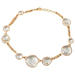 David Morris 78.00 Carat Crystal Quartz 2.46 Carat Diamond Necklace