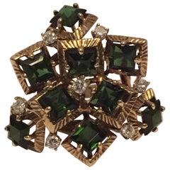 Tourmaline Diamond Ring Cocktail Ring