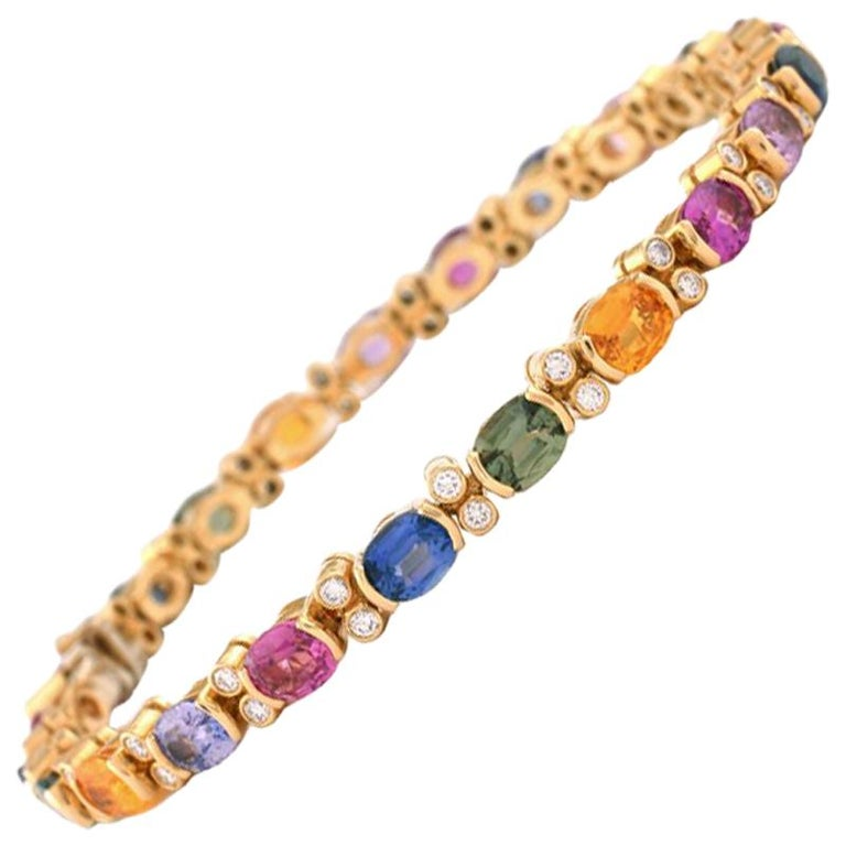 Julius Cohen 18 Karat Gold, Diamond and Multi-Color Sapphire Bracelet
