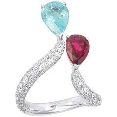 Vanleles Paraiba Tourmaline Rubelite Diamond Gold Timeless Wonders Ring