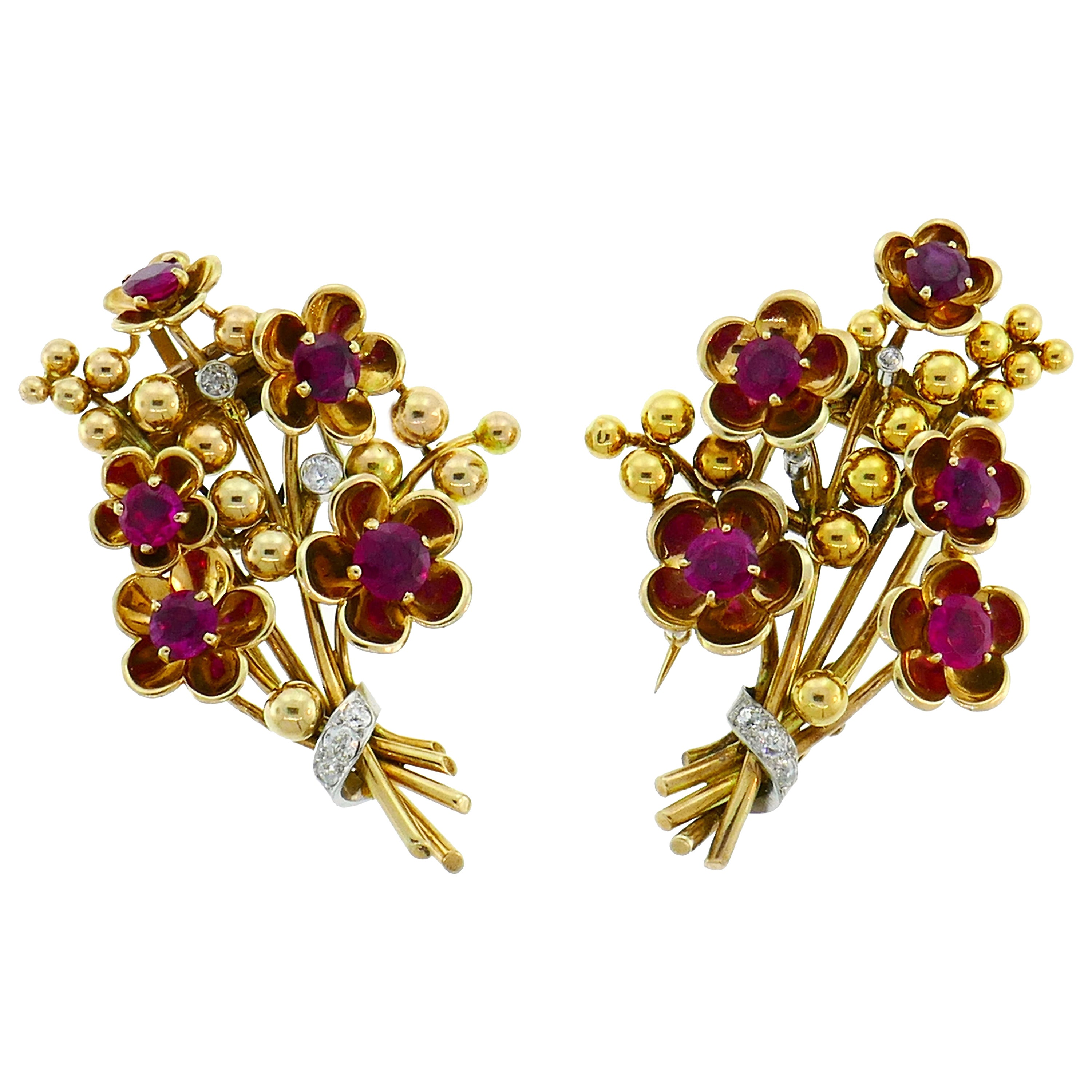 Cartier Ruby Diamond Gold Double Clip Pin Brooch, Retro 1940s Floral
