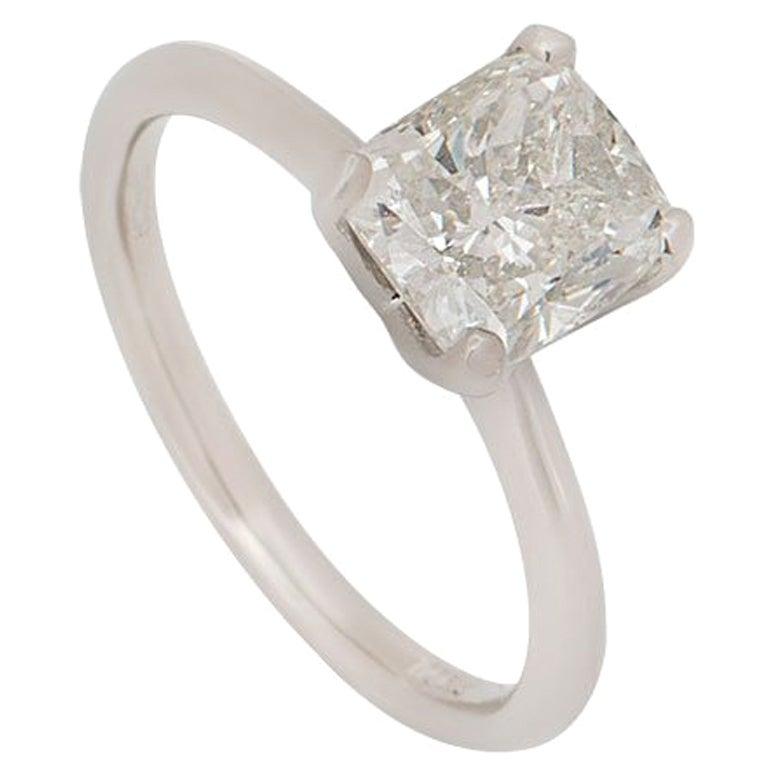 GIA Certified Platinum Cushion Cut Diamond Engagement Ring 2.00 Carat