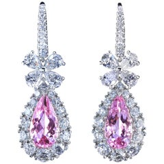 Leon Mege Diamond Chandelier Earrings with Natural Pear-shape Pink Morganites