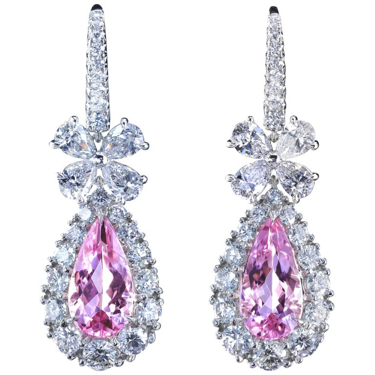 Leon Mege Diamond Chandelier Earrings with Natural Pear-shape Pink Morganites  For Sale