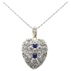 Edwardian Diamond Sapphire Locket and Chain