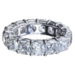 8.42 Carat True Antique Cushion Diamond Platinum Eternity Band by Leon Mege