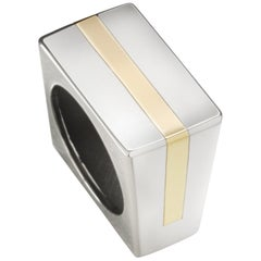 Sterling Silver, Yellow Gold Sculptural Square Ring