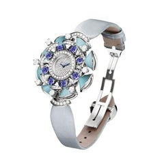 Bulgari Divas' Dream Watch with 18 Karat Gold, Diamonds, Turquoises, Tanzanites