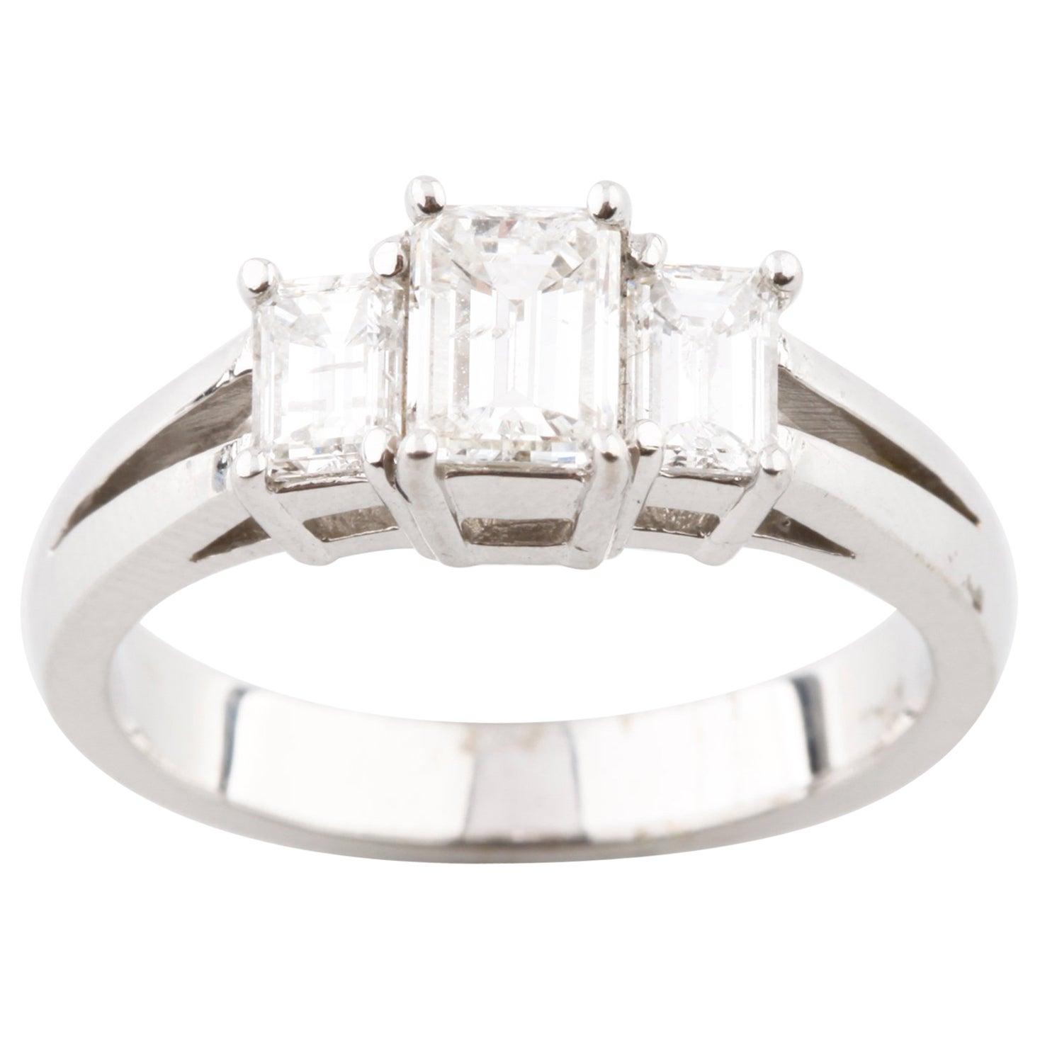 1.36 Carat Emerald Cut 3-Stone Diamond 18 Karat White Gold Engagement Ring