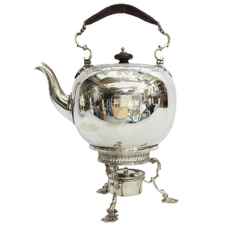 Georgian English Silver Kettle & Stand by Fred Kandler