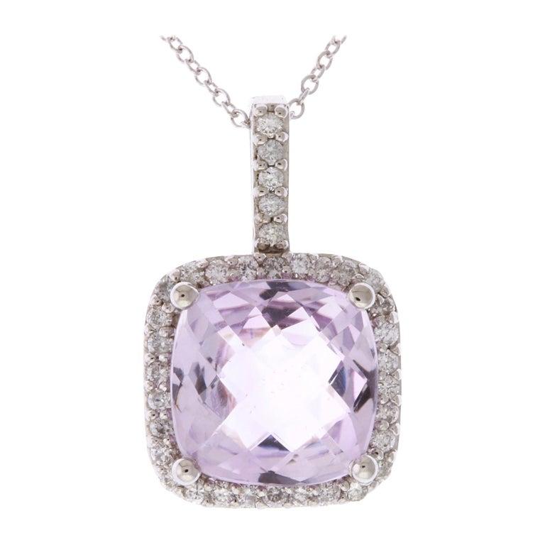 4.75 Carat Cushion Cut Rose Amethyst and White Diamond Pendant For Sale