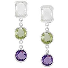 Code by Edge Aquafiore Earrings Coloured Rose Cut Gemstones Morse Code Letter E