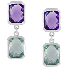 Code by Edge Aquafiore Earrings Coloured Rose Cut Gemstones Morse Code Letter M