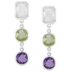 Code by Edge Aquafiore Earrings Coloured Rose Cut Gemstones Morse Code Letter D